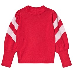 Velveteen Stella Knitted Jumper with Pink Stripe Red