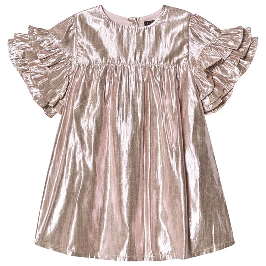 Velveteen Lurex Frill Sleeve Ginny Dress Pink/Gold LMPS
