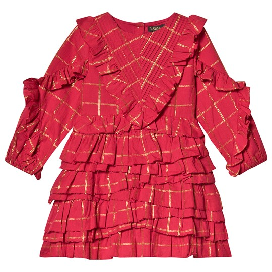 Velveteen Red and Gold Lurex Stripe Ruffle Tiered Winona Dress RLC