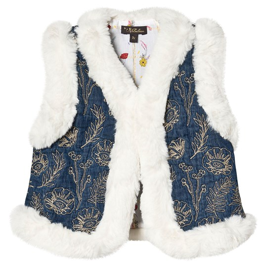 Velveteen Embroidered Faux Fur Lined Robyn Gilet Denim IDM