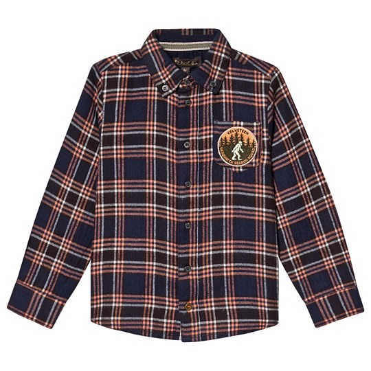 Velveteen Flannel Sebastian Shirt with Badge Brown Checked LCH