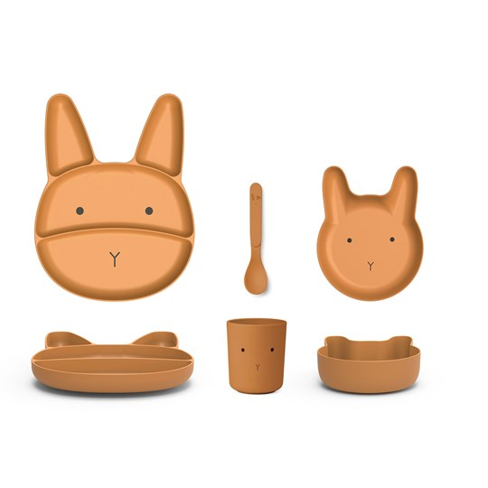 Liewood Jules Junior Bamboo Dinner Set Rabbit/Mustard Mustard