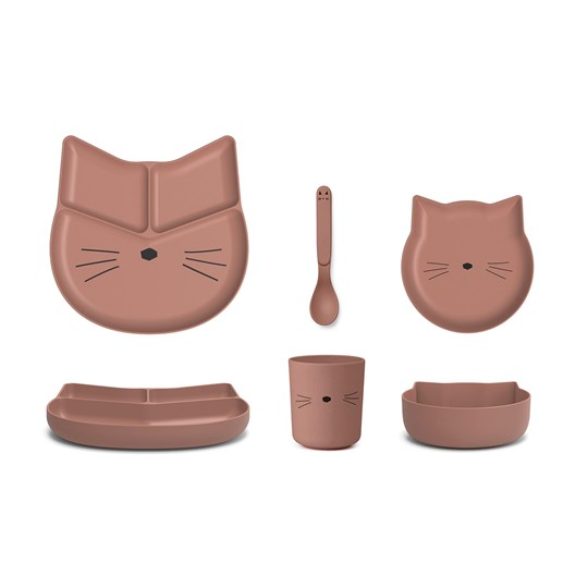 Liewood Jules Junior Bamboo Dinner Set Cat/Dark Rose Dark Rose