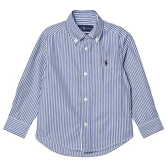 Ralph Lauren Stripe Oxford Shirt in Harbor Blue/White 002