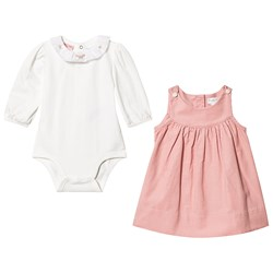 Ralph Lauren Embroidered Dress and Baby Body Set Pink/White