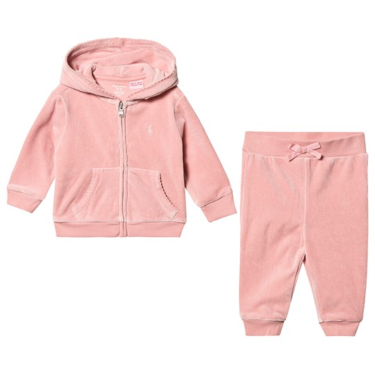 Ralph Lauren Velour Hoodie and Sweatpants Set Pink 004
