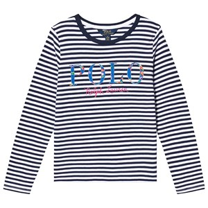 Ralph Lauren Navy and White Stripe Long Sleeve Tee with POLO Logo M (8-10 years)