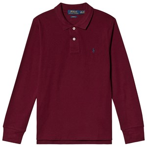 Ralph Lauren Burgundy Long Sleeve Polo with Small PP L (14-16 years)