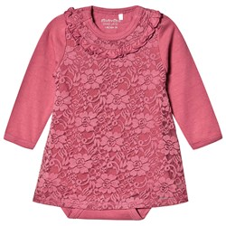 Minymo Baby Body Dress With Lace Rose Wine