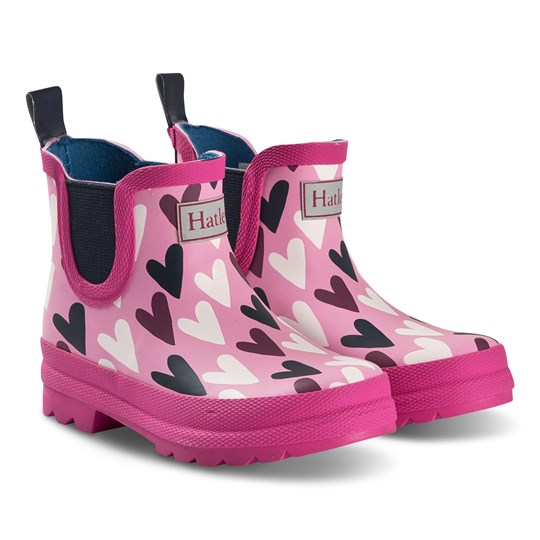 Hatley Lovey Hearts Ankle Wellies Pink Pink