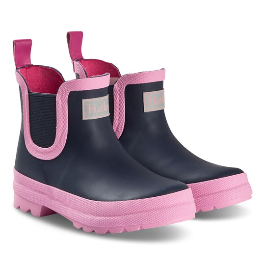 Hatley Ankle Wellies Navy/Pink Blue