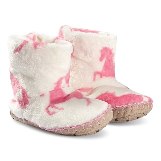 Hatley Playful Horses Fleece Slippers White/Pink Natural