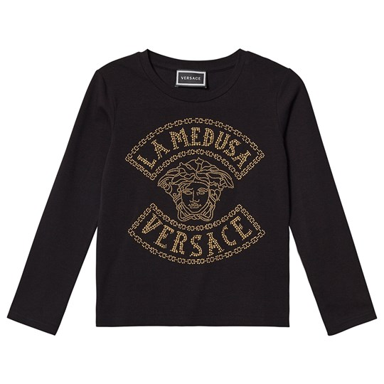 Versace Studded La Medusa Long Sleeve Tee Black/Gold YA71A