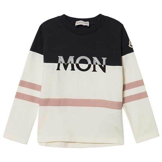Moncler Embroidered Logo Tee White and Pink 034