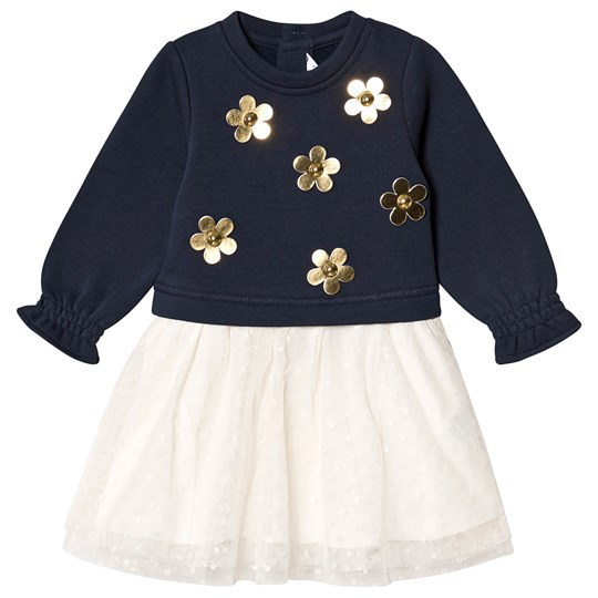 Little Marc Jacobs Gold Daisy 2 in 1 Tulle Dress Navy Z40