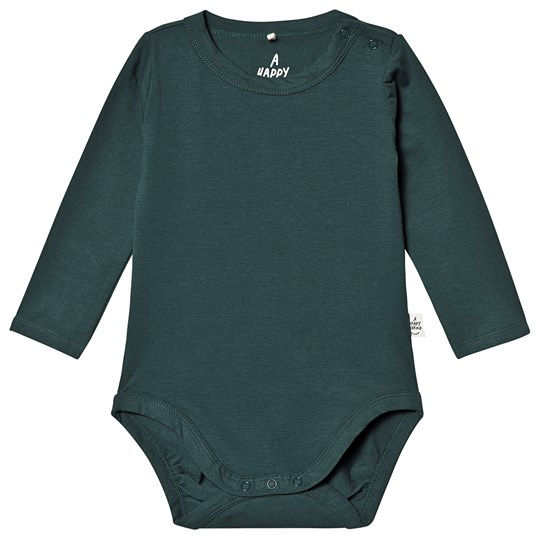 A Happy Brand Long Sleeve Baby Body Forest Green