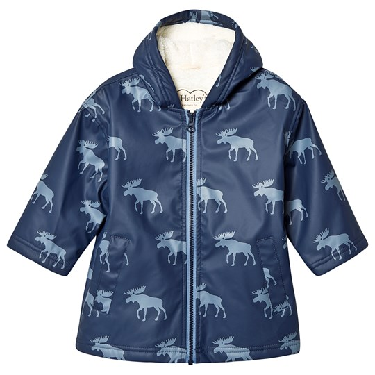 Hatley Lined Raincoat Moose Silhouettes Blue Blue