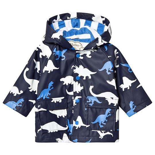 Hatley Color Changing Infants Raincoat Dino Herd Navy Blue