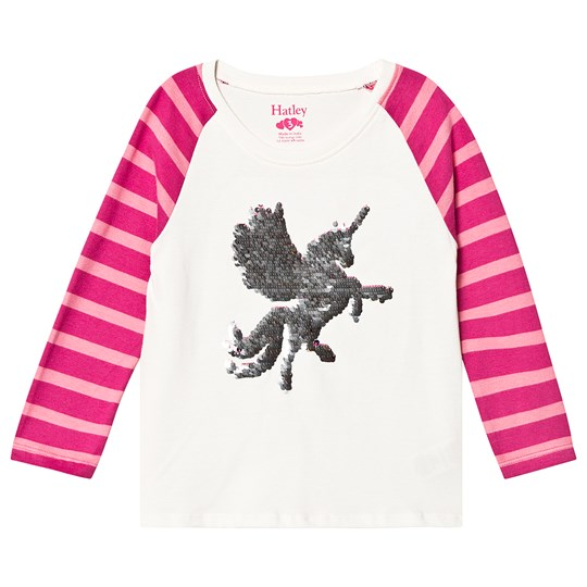 Hatley Mythical Unicorn Flip Sequin Long Sleeve Tee White Natural