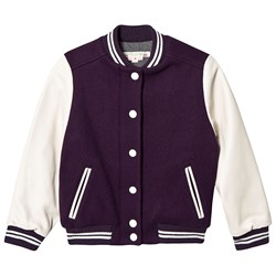 Bonpoint Paris Applique Varsity Jacket Purple/Cream