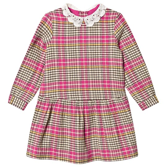 Bonpoint Multi Check Lace Collar Dress Pink 429