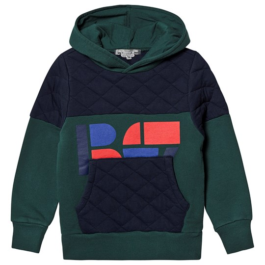 Bonpoint Green and Navy Quilted Logo Hoodie 149B