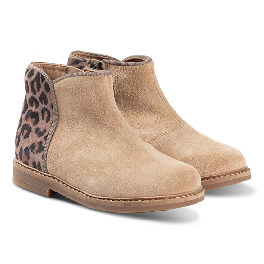 Pom Dapi Camel and Leopard Print Retro Back Leather Ankle Boots Nougat