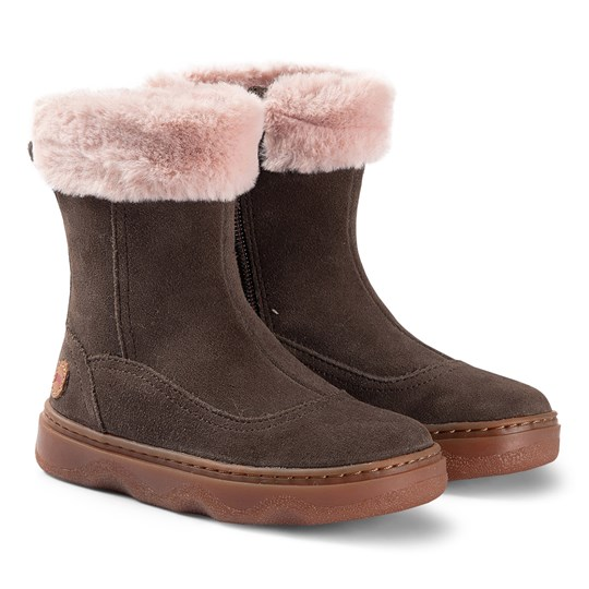 Camper Brown and Cream Fur Lined Kiddo Boot 005