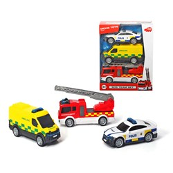 Dickie Toys 3-Pack Swedish Emergency Service Toy Cars