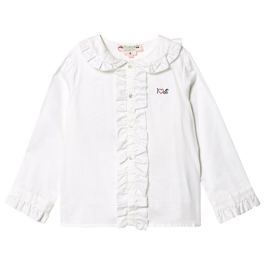 Bonpoint Cherry Ruffle Detail Blouse White 002