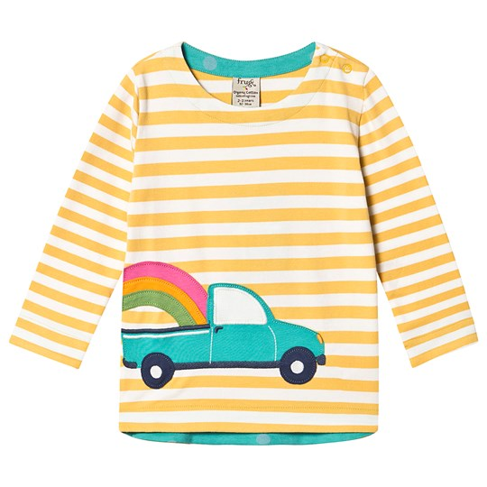 Frugi Alana Cosy Applique Top Bumble Bee Breton/Truck Bumble Bee Breton/Truck