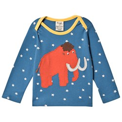 Frugi Bobby Applique T-Shirt Steely Blue Star/Mammoth