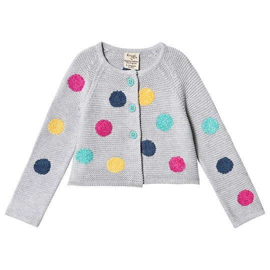 Frugi Emilia Embroidered Cardigan Grey Marl/Multi Spot Grey Marl/Multi Spot
