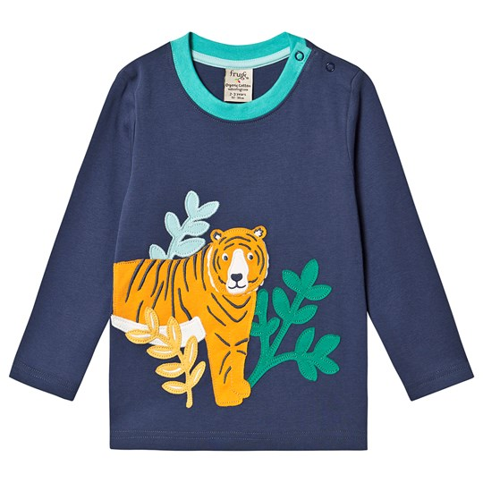Frugi Adventure Applique Top Space Blue/Tiger Space Blue/Tiger