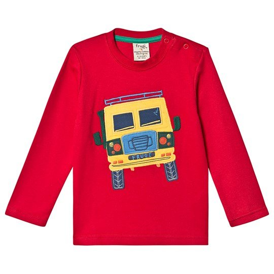 Frugi Adventure Applique Top Tango Red/Truck Tango Red/Truck