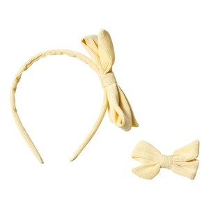 Image of Ciao Charlie Corduroy Hair Bow & Headband Set Yellow One Size (1389434)