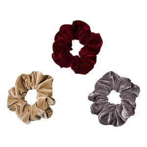 Image of Ciao Charlie 3-Pack Corduroy Scrunchies Beige/Grey/Burgundy One Size (1389440)