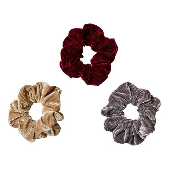 Ciao Charlie 3-pack Manchester Scrunchies Beige/Grey/Burgundy