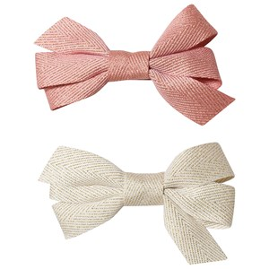 Image of Ciao Charlie 2-Pack Hair Bows Cream/Warm Pink One Size (1389447)