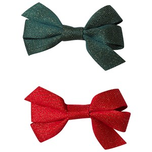 Image of Ciao Charlie 2-Pack Hair Bows Green/Red One Size (1389449)