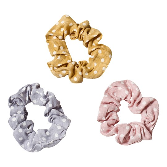 Ciao Charlie 3-Pack Dot Scrunchies Blue/Yellow/Pink