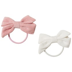 Ciao Charlie 2-Pack Corduroy Bow Hair Ties Light Pink/White