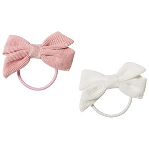 Image of Ciao Charlie 2-Pack Corduroy Bow Hair Ties Light Pink/White One Size (1389430)
