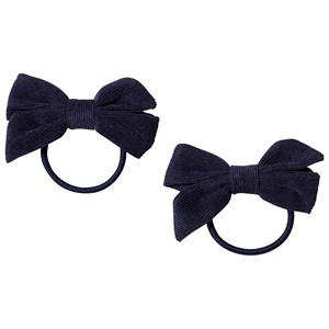 Image of Ciao Charlie 2-Pack Corduroy Bow Hair Ties Navy One Size (1389431)