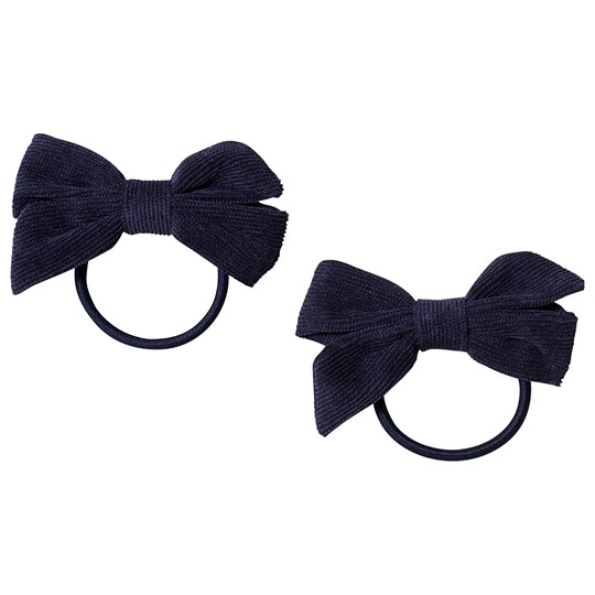 Ciao Charlie 2-Pack Corduroy Bow Hair Ties Navy