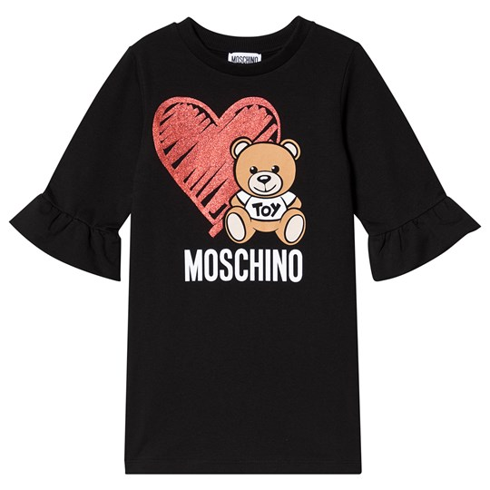 Moschino Kid-Teen Black Heart Bear Branded Sweat Dress 60100