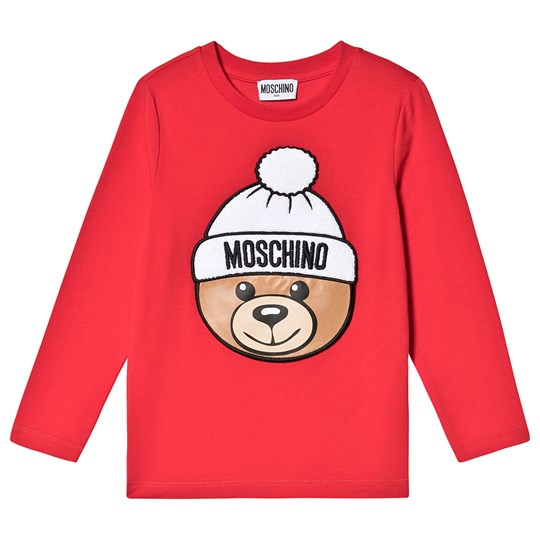Moschino Kid-Teen Chenille Winter Bear T-shirt Röd 50109