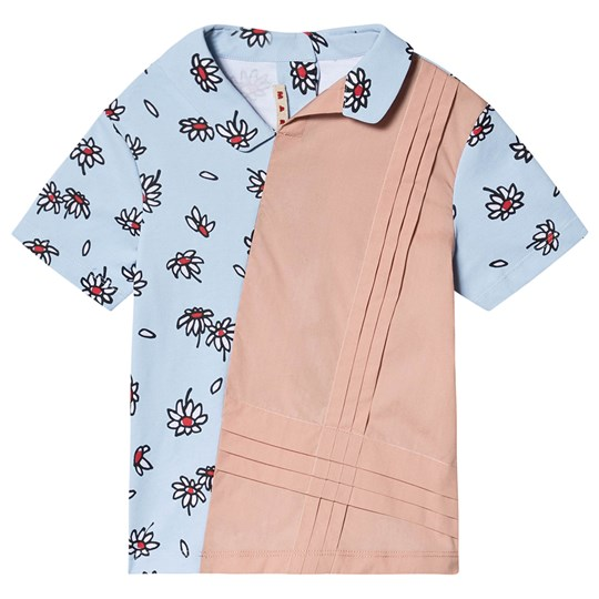 Marni Color Block Daisy Shirt Blue and Pink 0M826