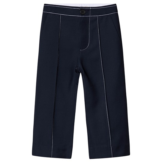 Marni Pin Tuck Flared Trousers Navy 0M825