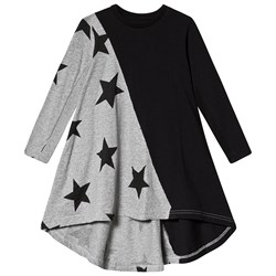 NUNUNU Half & Half Star 360 Dress Black and Heather Grey